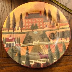 block country village by gear plate / platter